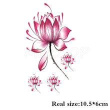 Tattoo Sticker waterproof ink Lotus pink flower Chinese stlye Temporary fake Tatoo Water Transfer flash Tatto for woman girl kid(China)