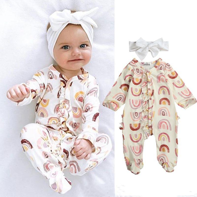 Newborn Baby Girls Clothes Long Sleeve Footies Baby Girls Clothes One Piece Jumpsuits For Newborn Rainbow Striped Girls Playsuit
