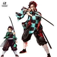 ROLECOS Anime Costume Demone Cosplay Tanjirou Kamado Cosplay Costume Kimetsu no Yaiba Uomo Kimono Costume di Halloween