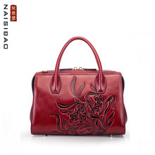 NAISIBAO 2019 New women genuine leather bag embossing Wings fashion handbags shoulder perfectly tote