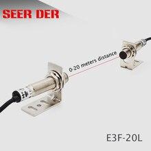 레이저 빔 광전 스위치 E3F 20L 적외선 센서 스위치 20 미터 npn no 레이저 근접 센서