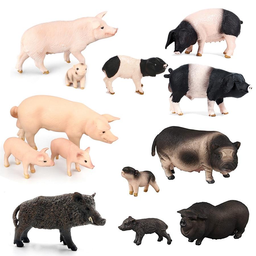 Simulado fazenda aves animais porco porca família conjunto modelo estatueta decoração para casa figuras de ação adorável brinquedos educativos artesanato