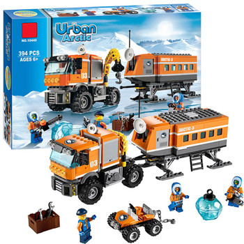 Camión grúa Legoings de aventura Polar, modelo de Puesto Avanzado ártico, Kit de bloques de construcción, juguetes para niños, regalos de cumpleaños y Navidad, 394 Uds.