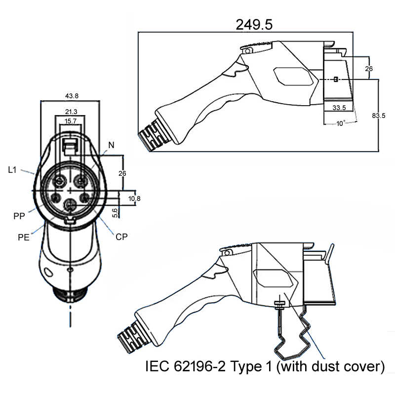 ANDAIIC Type 1 어댑터 플러그 커넥터 암 어댑터 Sae J1772 for Electrica 자동차 액세서리 32A 16A