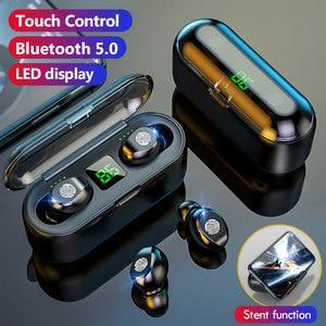 Image 2 - Auriculares TWS 5,0 inalámbricos por Bluetooth, auriculares estéreo deportivos para música, auriculares con cargador de batería LED de 2000mAh para iPhone, Samsung S9
