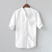 Мужчины рубашка 2021 хлопок стойка воротник дышащий короткий рукав Harajuku уличная одежда мужчины повседневный однотонный цвет лен рубашки Camisa