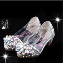 אופנה סינדרלה קריסטל בהיר יהלומי נעלי ילדה נסיכה אחת נעלי ילדה ביצועים גבוהה עקבים נעליים