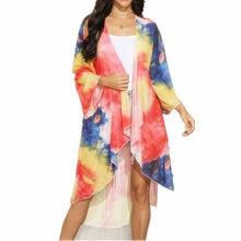 Robe De Plage style Boho pour femmes, Cardigan, manches sarong, imprimé arc-en-ciel, été, 2020