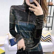 #5531 Plaid Printed Turtleneck T Shirt Women Long Sleeved Tight Tee Shirt Femme Sexy Slim Basic T-shirt Velour Top Spring Autumn