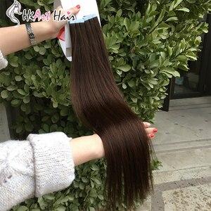 Image 5 - HiArt Extensions de cheveux naturels, avec bande, Balayage, trame de cheveux naturels lisses, Double tirage, pour Salon de coiffure, 18, 20 ou 22 pouces, 2.5g par pièce