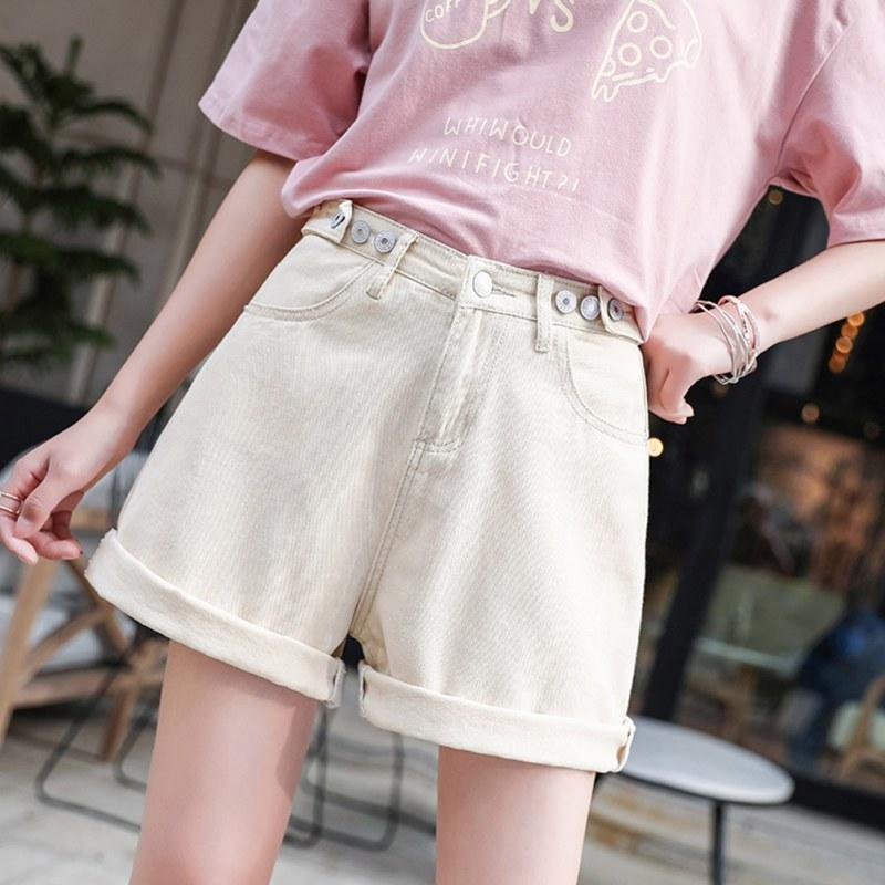 Women's Shorts Summer Korean Solid Color Plus Size Casual Wide Leg Shorts High Waist Loose Casual Cowboy Five-point Denim Shorts