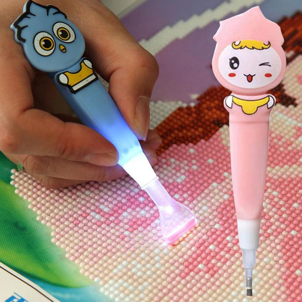 Kuulee Cartoon Diamond Painting Drill LED Pen Light Cross Kit Pen Stitch Embroidery Painting Tools 4 Heads