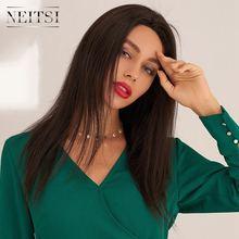 Neitsi 100% cabelo remy em linha reta cheia do laço perucas de cabelo humano 16