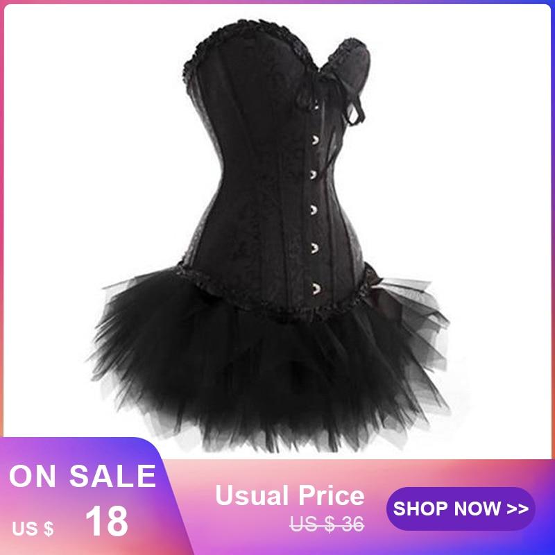 Fashion Womens Gothic Vintage Lace Trim   Corset   Dress with Mini TuTu Skirt Halloween Clubwear costume Plus size Gothic   Bustier