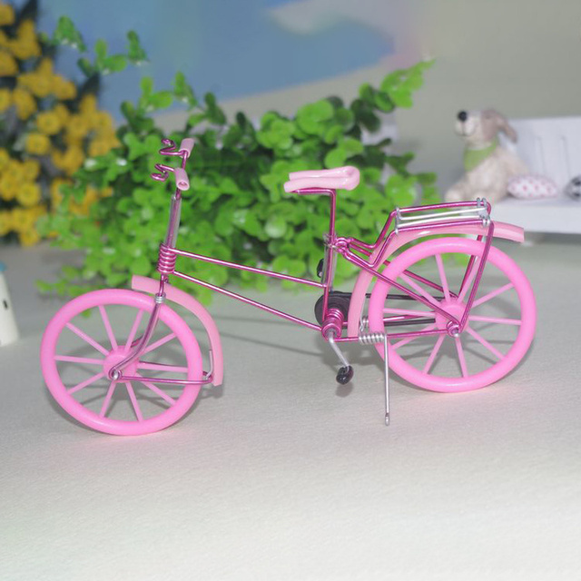 Creative Handmade Iron Bicycle Decoration Crafts for Home Office Gifts Figurines Miniatures Blue Pink Purple Small Bike Model 2