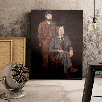 Portrait of Dwight Schrute and Mose Schrute Canvas Painting 1