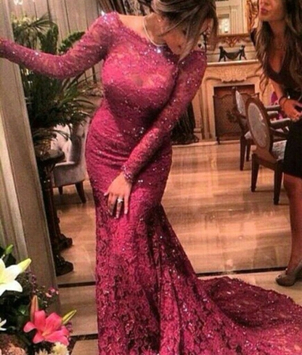 Mermaid Long Sleeve Evening Floor Length Beading Lace Prom Dresses Custom Size Free Shipping 2018 Mother Of The Bride Dresses