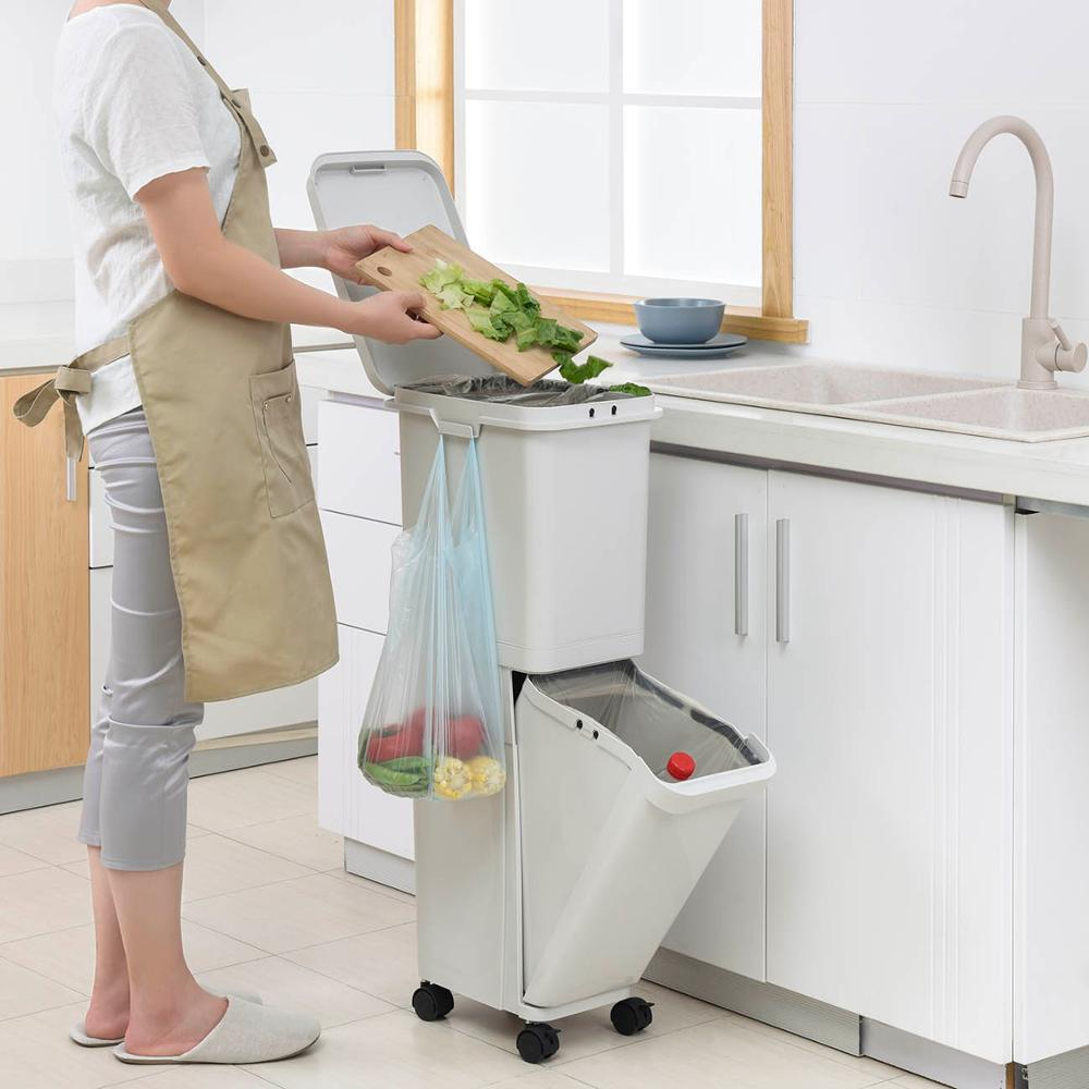 Plastic Large Double Layers Trash Can Kitchen Waste Sorting Bins Double-deck Cover Classified Dustbin Storage Bucket With Wheels