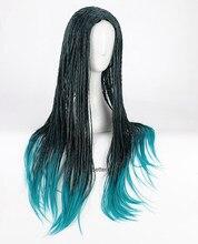 Descendentes 2 uma cosplay peruca trançada resistente ao calor peruca de cabelo sintético + peruca tampão