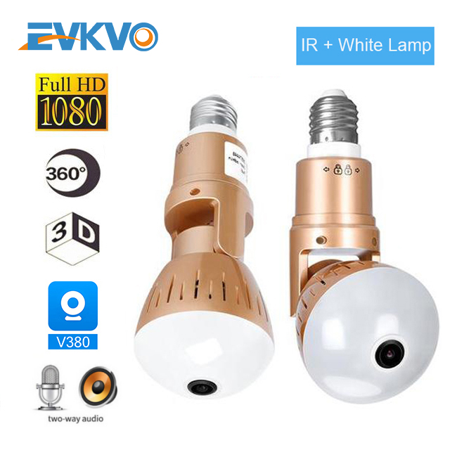 EVKVO IP Camera Bulb Lamp Light Wireless 2MP HD 360 Degrees Panoramic Light Home Cctv Security Video Surveillance Wifi  Camera
