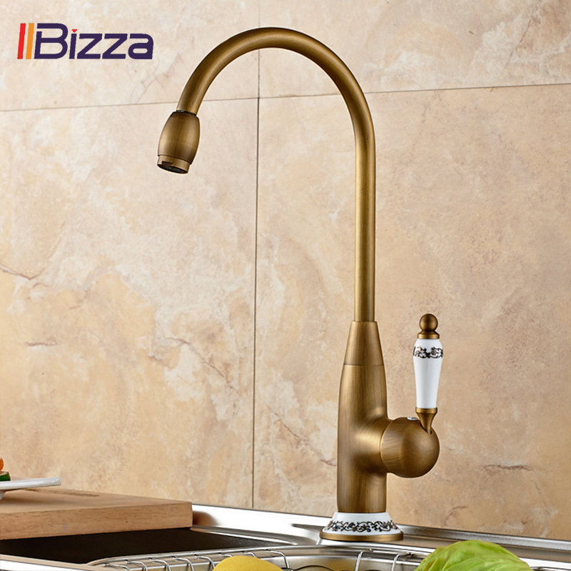 360 Swivel Stream Spout Antique Bronze Faucets Brass Deck Mounted Kitchen Faucet Copper Hot Cold Sink Mixer Taps Ceramic Crane