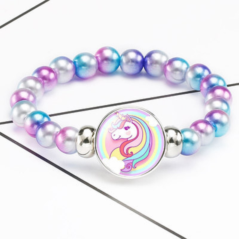 Cartoon Unicorn Bracelet For Children Birthday Gift Toys Girls Gifts Juguetes Toys Beads Bracelet