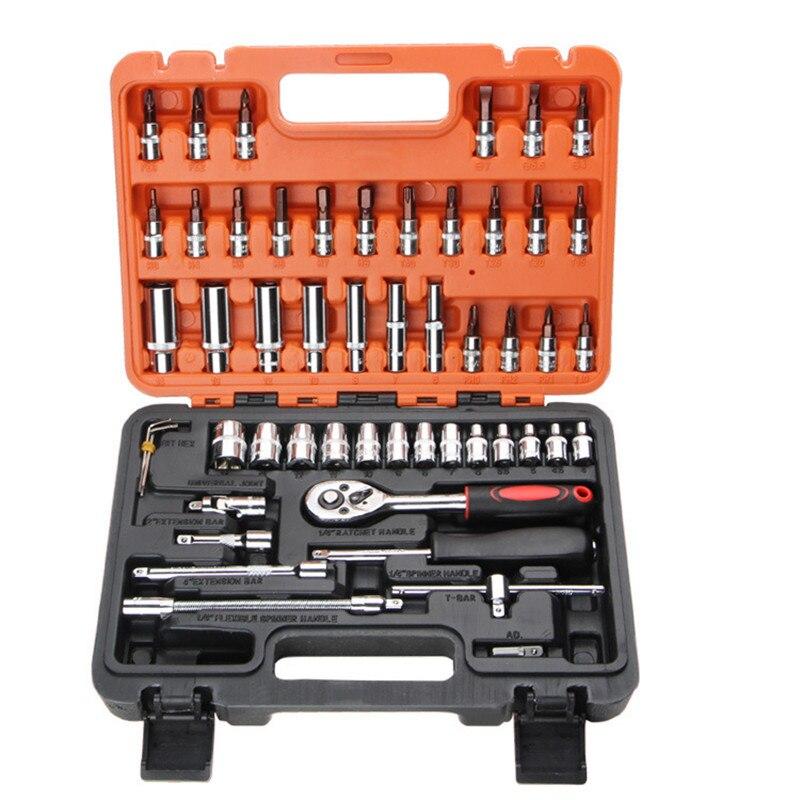 53Pcs Professional Auto Repair Tool Socket Wrench Set Fast Ratchet Repair Tool Combination