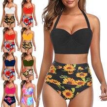 Estampado de moda Bikini las mujeres de dos piezas traje de baño de talla grande de playa trajes de baño Sexy sin espalda Bikini apretado nadar traje de baño