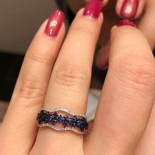 Creative micro mosaic Fashion Women Girls Blue Flower Ring 925 Silver CZ Stone Ring Promise Engagement Rings For Women(China)