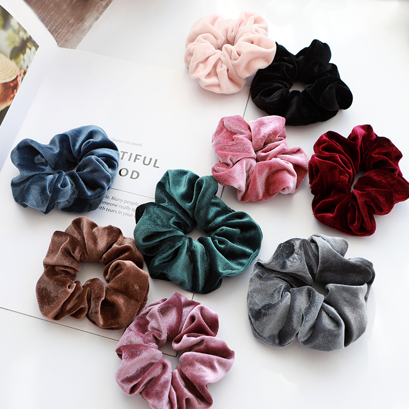 Elegant Velvet Hair Ring Scrunchie Women Girls Elastic Hair Rubber Bands Gum Accessories Tie Hair Rope Ponytail Holder Headdress