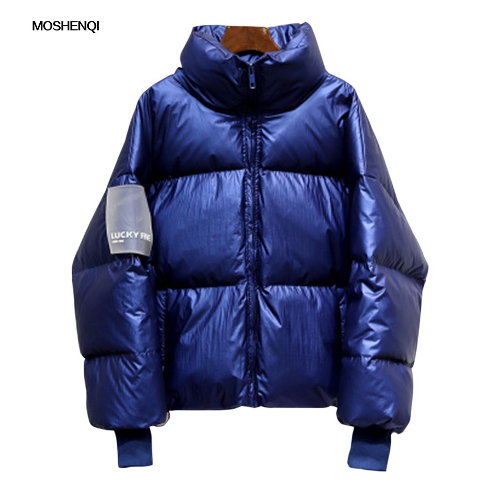 MOSHENQI Winter Jacket Women Solid Stand Collar   Parka   Coat Warm Plus Size Overcoat 2019 Female   Parkas   Woman Puffer Jacket