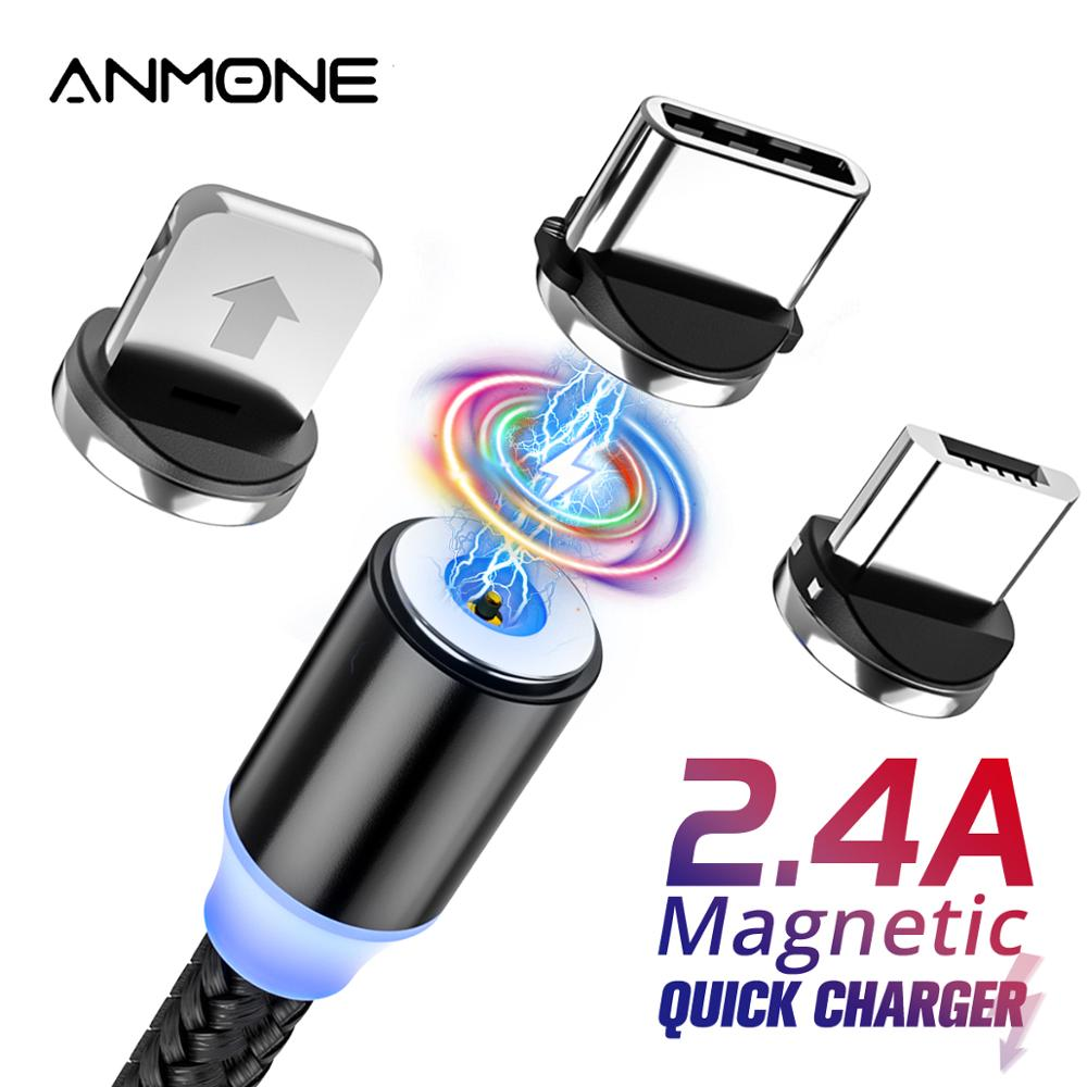 ANMONE LED Magnetic Micro USB Cable Magnet Plug Type C Charge 3 In 1 Cord For IPhone Huawei Samsung XiaoMi  1m 2m Phone Cable