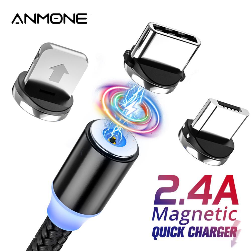 Светодиодный магнитный кабель ANMONE с разъемом Micro USB, кабель 3 в 1 для зарядки iPhone, huawei, samsung, XiaoMi, 1 м, 2 м|Кабели для мобильных телефонов|   | АлиЭкспресс - Топ товаров на Али в мае