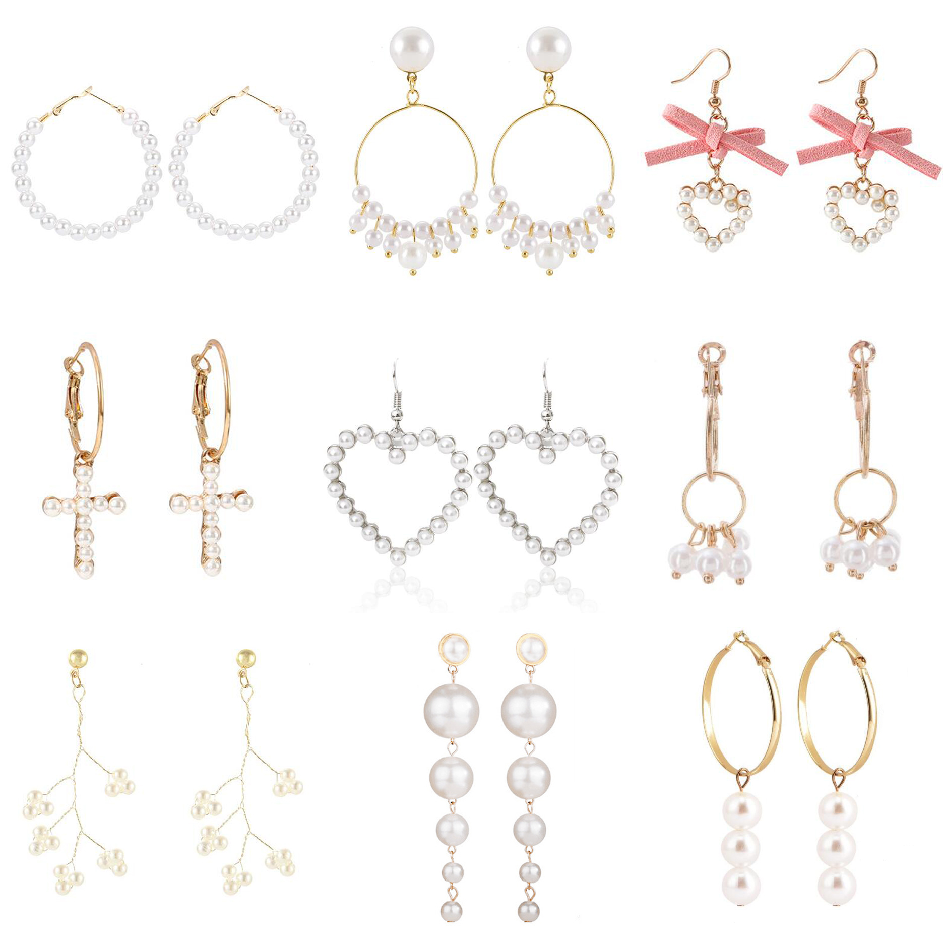 Earrings For Women Pearl Heart Cross Tree Flower Tassel Gold Silver Girls Fashion Gift Glamour Sexy Bow Drop Dangle Earrings