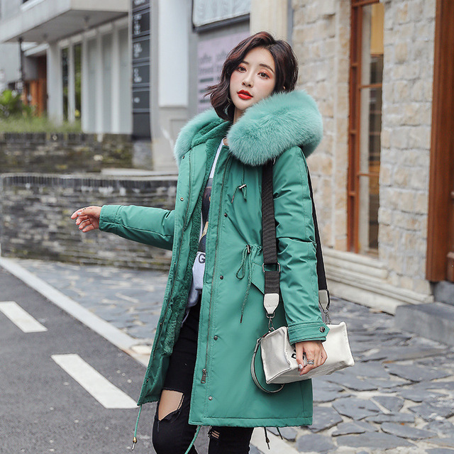 Thick Velvet Long Cotton Coat for Winter