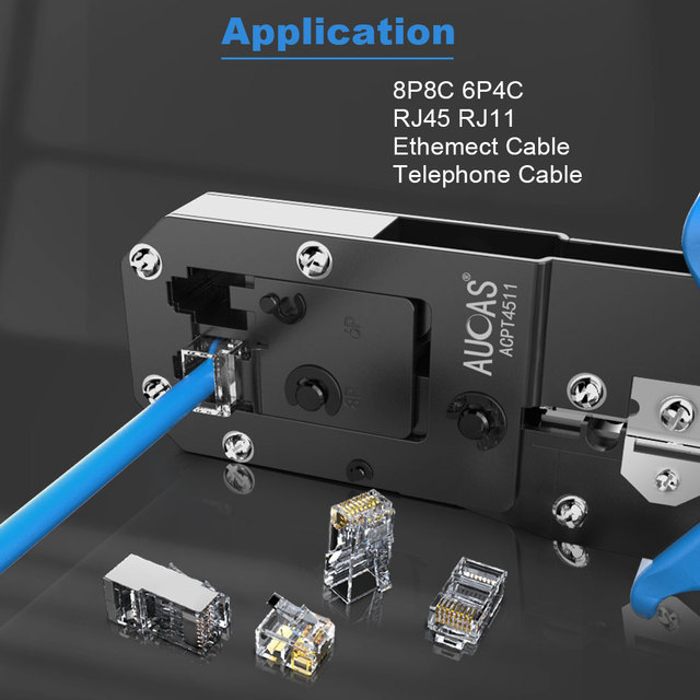 AUCAS Rj45 Crimper Tool Crimping Cable Networking Wire Ratchet Pliers Lan Kit RJ12 Tools   Punch Mikrotik Krimptang Equipment 2