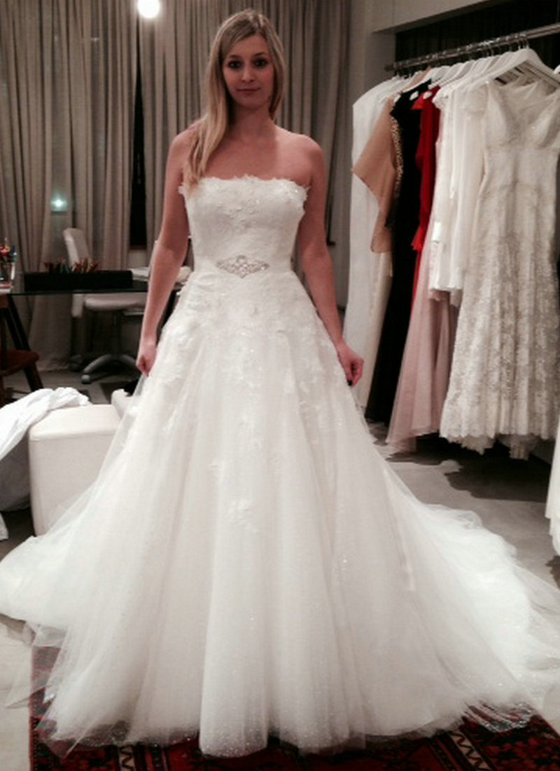 Strapless Crystal Appliques For Wedding Dresses Women A-line Wedding Gowns Ivory With Ribbon Vestido De Noiva 2015