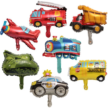1pc Mini Cartoon Car Balloons Fire Truck Car Train Foil Balloon Ambulance Children Gifts Birthday Party Decorations Kids Toys image