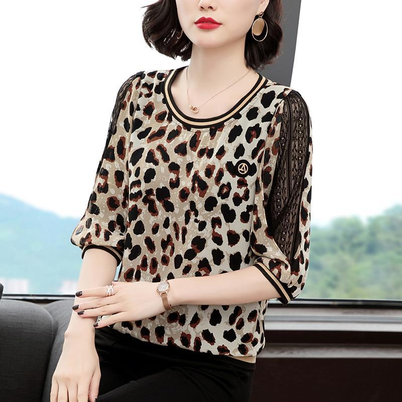 New Women Spring Summer Blouses Shirt Women Casual O-Neck Hollow Out Leopard Blouses Loose Tops High Quality K34 8