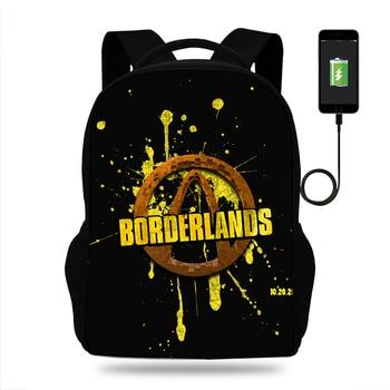 17inch Game Borderlands 2 Print Backpack Teenager Boys High School Bags Kids USB Charger Backpack Students Children Mochila 1