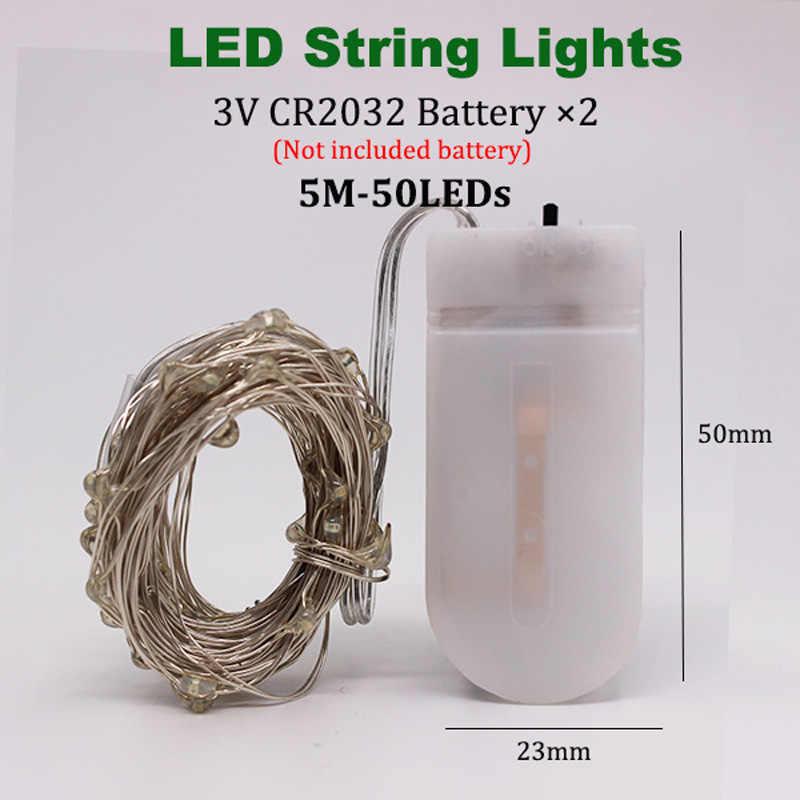 1-5M peri ışık CR2032 pilli LED Mini noel bakır tel dize ışık düğün noel Garland parti kapalı