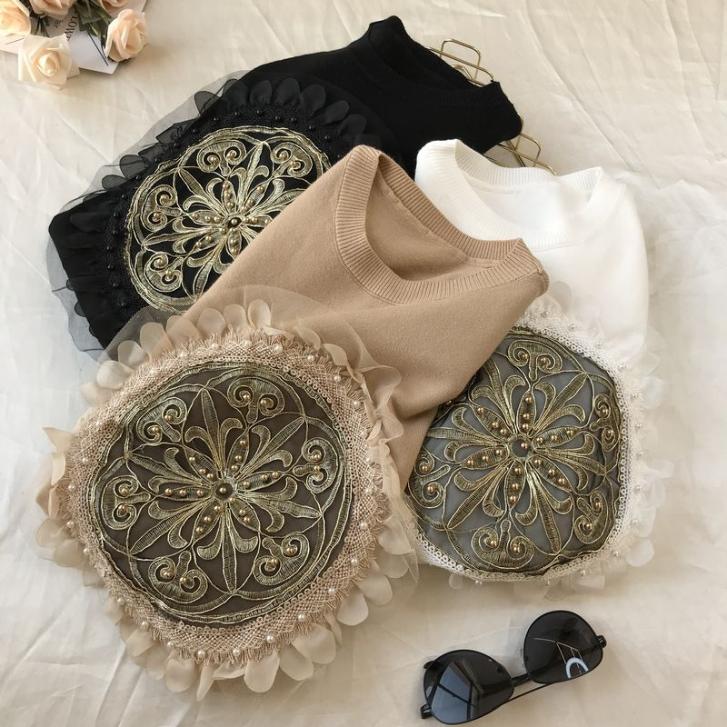 2020 Spring New European Ins Specific Lace Embroidery Flower Short Sleeve Knitted Tshirg Womens Top T-shirt Tees Tops