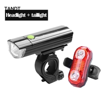 Bicycle light headlights LED waterproof taillights set mountain bike safety warning lights USB charging bicycle accessories