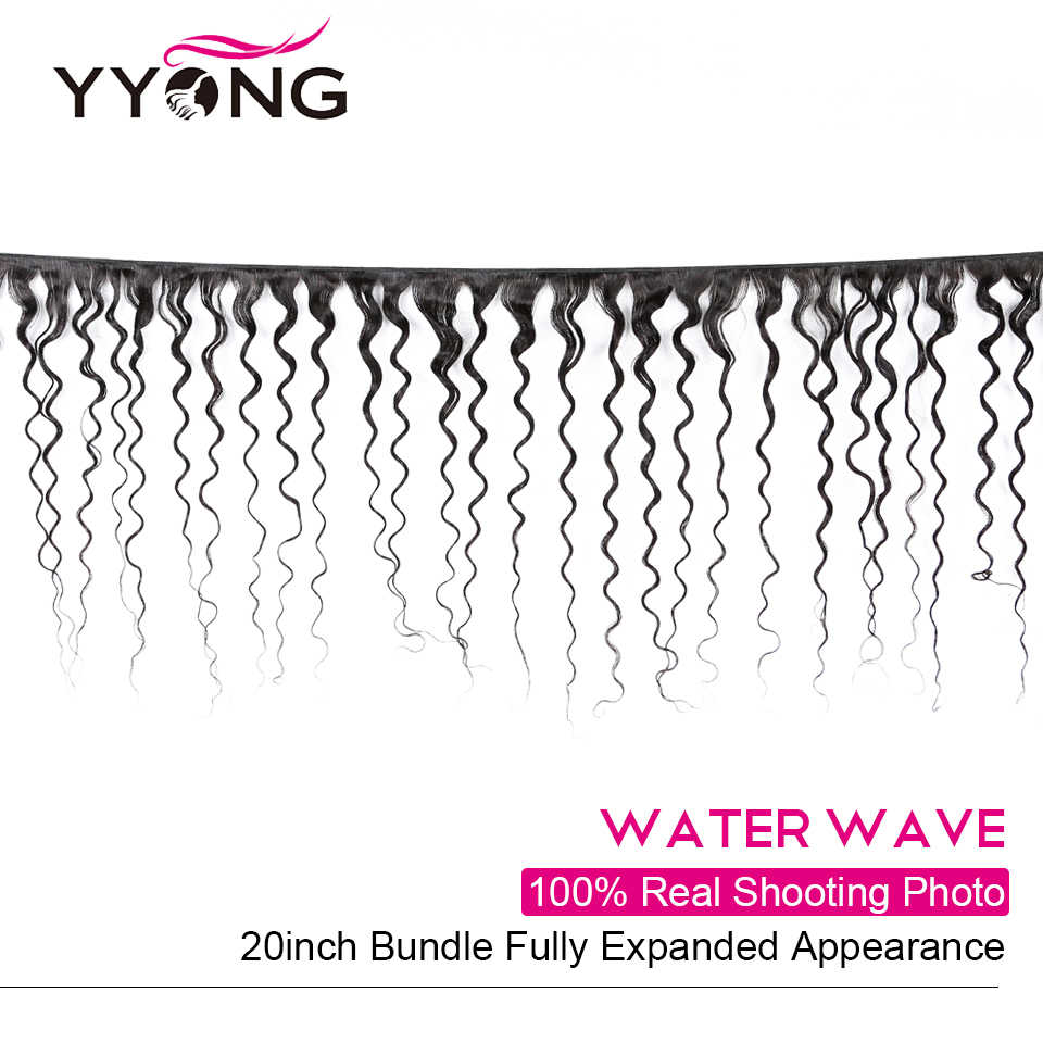 Yyong 4x6 Onda di Acqua di Chiusura Con Bundles Brasiliano Dei Capelli Umani di 3/4 Bundle Con Chiusura di Remy Fasci Del Tessuto Dei Capelli con Chiusura
