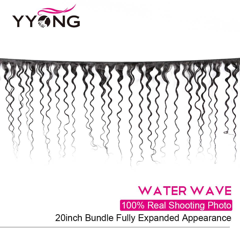 Yyong 4x6 Water Wave zamknięcie z wiązki brazylijski ludzkich włosów 3/4 wiązki z zamknięciem Remy włosy wyplata wiązki z zamknięciem