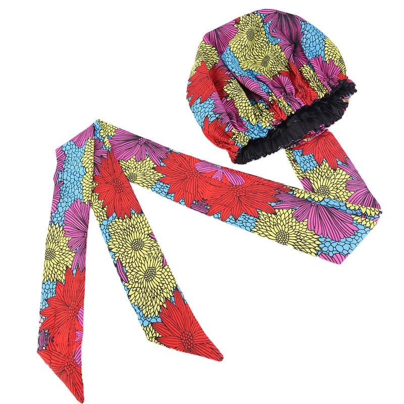 New African Ankara Pattern Satin Linned Bonnet Women Long Ribbon Headwrap Double Layer Headscarf Big Size Adult Hair Cover