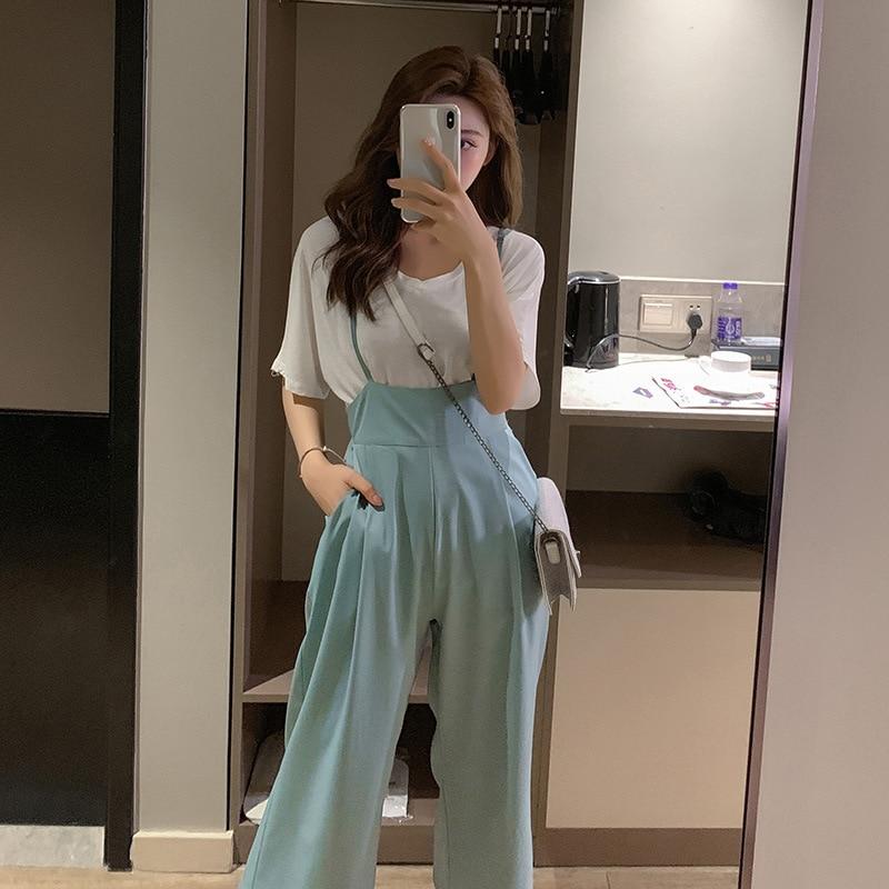 Customizable Photo Shoot Fashion WOMEN'S Suit  Korean-style New Style Short Sleeve T-shirt + Suspender Strap Casual Pants Tw