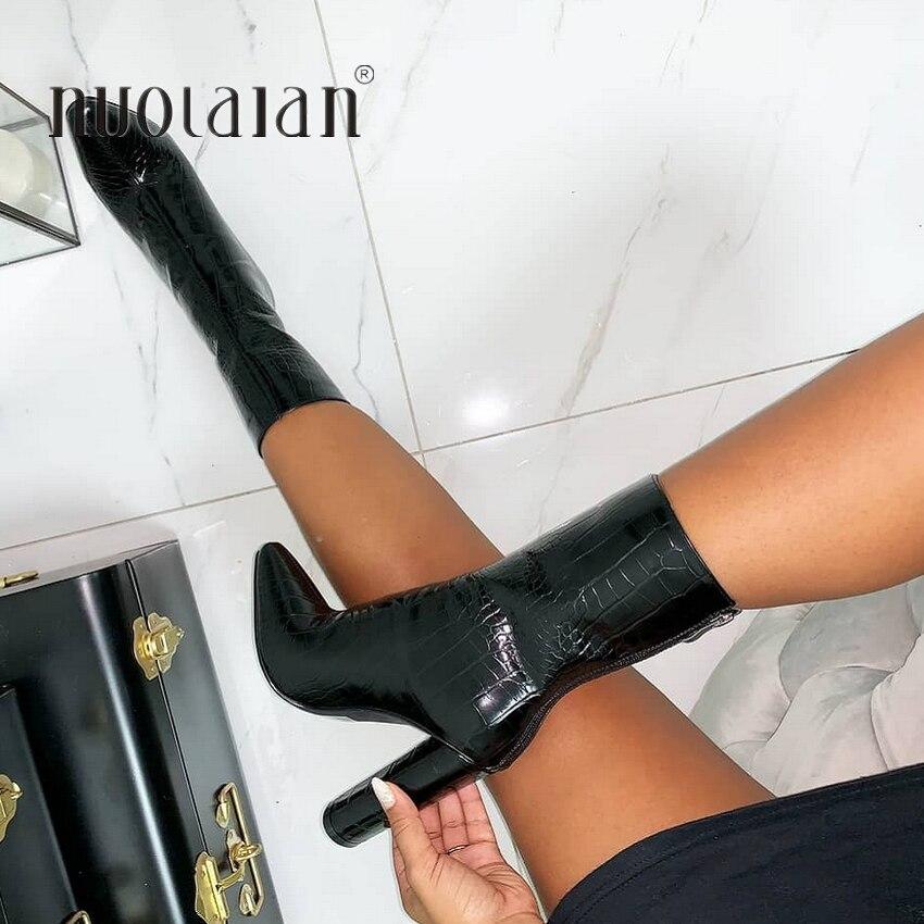 Женские ботильоны высокого качества; обувь с острым носком на молнии; женские ботинки на высоком каблуке 10,5 см; обувь для вечеринок; Новинка 2019 года; сезон зима