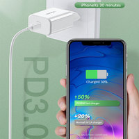 USAMS PD Fast Charger 18W USB Type C Travel Quick Charging QC3.0 Phone Fast Charger Portable for iPhone 12 11 X Xs Xiaomi Huawei Samsung