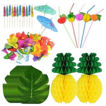 150PCS Tropical Hawaiian Party Decorations Set Includes Tropical Palm Leaves Hibiscus Flowers Tissue Paper Pineapples Fruit Stra